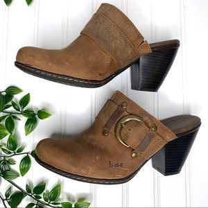 Born Brown Buckle Leather Heel Clog Mules